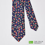 Navy Melon Print Silk Tie - With Charity Donation, Ties - SIRPLUS