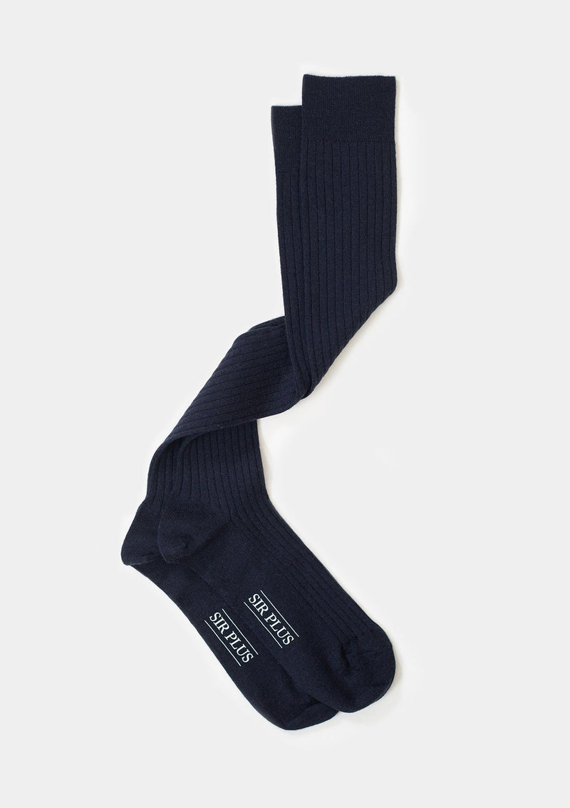 Navy Over The Calf Dress Socks - SIRPLUS