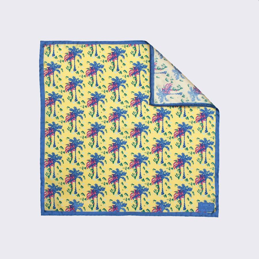 YELLOW PALM SILK POCKET SQUARE - Rose Electra Harris, Pocket Squares - Sir Plus
