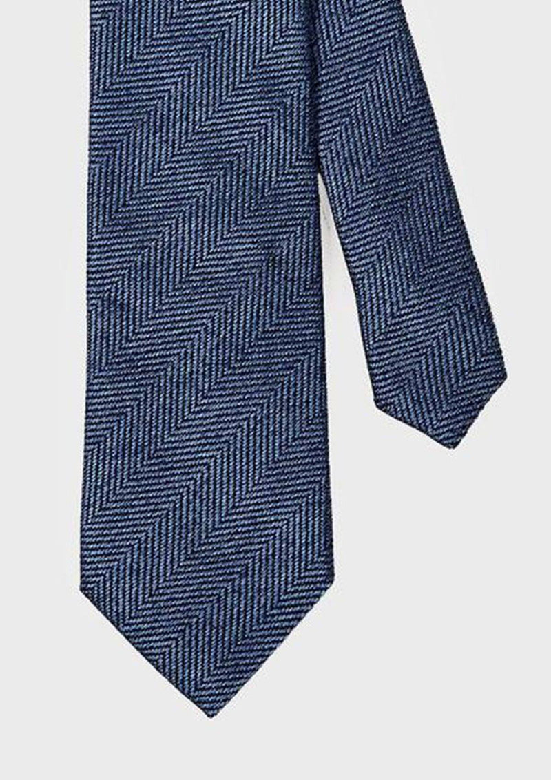 Blue Herringbone Tie - Cotton Silk Jacquard, Ties - SIRPLUS