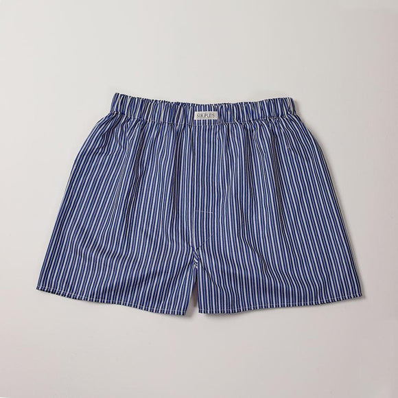 NAVY WHITSTABLE STRIPE BOXERS - 100% Cotton