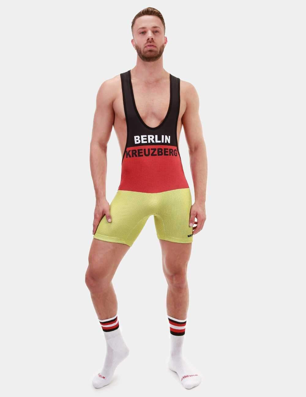 Barcode Berlin Filipp Black, Red & Yellow Singlet