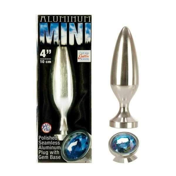 California Exotics  Aluminium Mini Butt Plug with Gem Base  Aluminium  4""