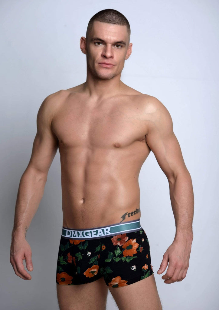 DMXGEAR Luxury Black/Blue Trunks with Flora Pattern