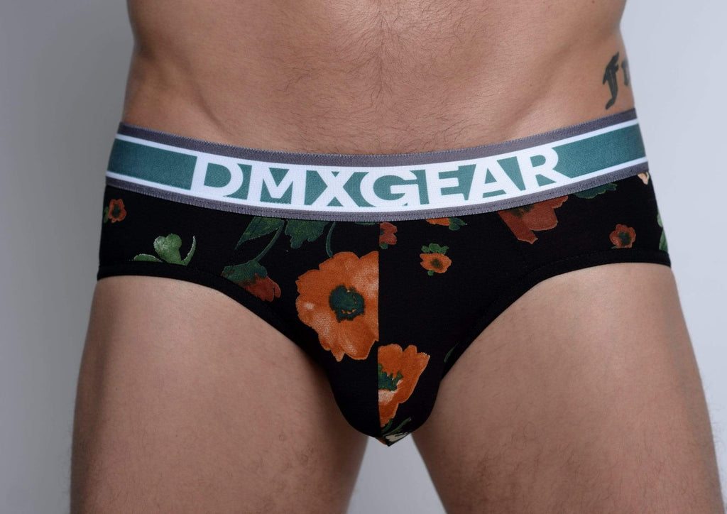 DMXGEAR Luxury Black/Yellow Briefs with Flora Pattern