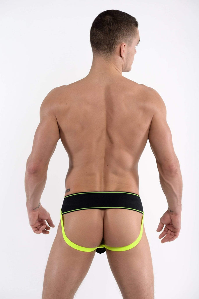 DMXGEAR Luxury Men's Black / Green Neon Stripe Jock Strap