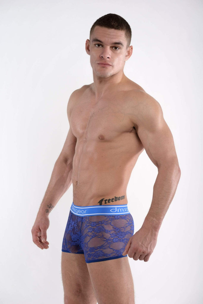 DMXGEAR Mens Transparent Blue Lace Boxer Trunks