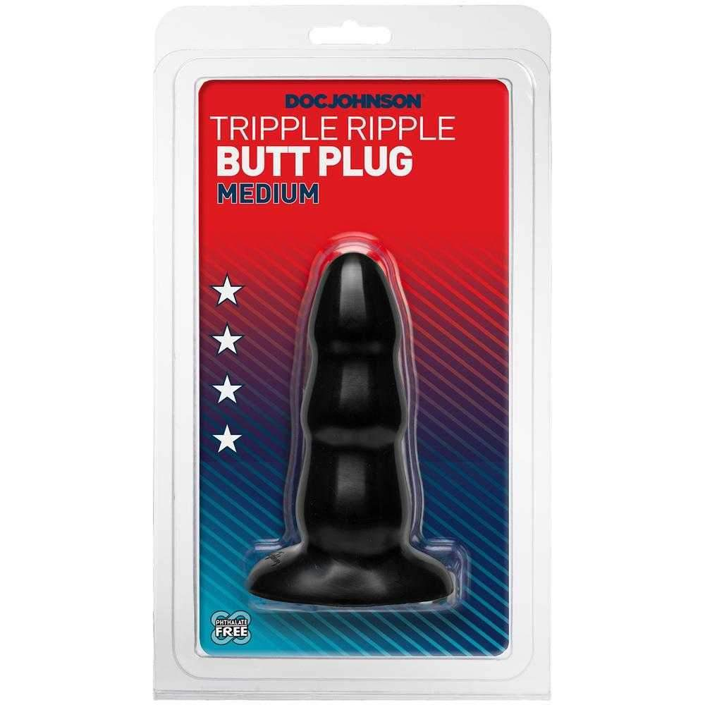 Doc Johnson  Doc Johnson Classic Triple Ripple Butt Plug  Black  Medium