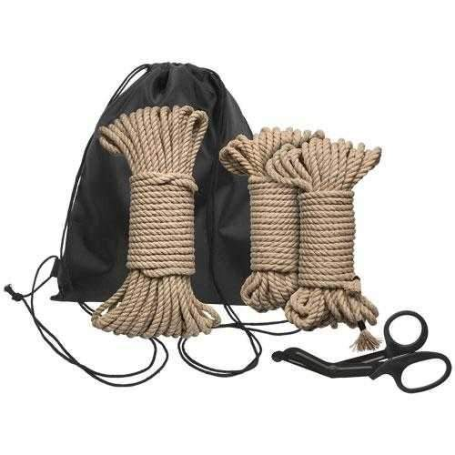 Doc Johnson  Kink Bind And Tie Initiation 5 Piece Hemp Rope Restraints  Brown