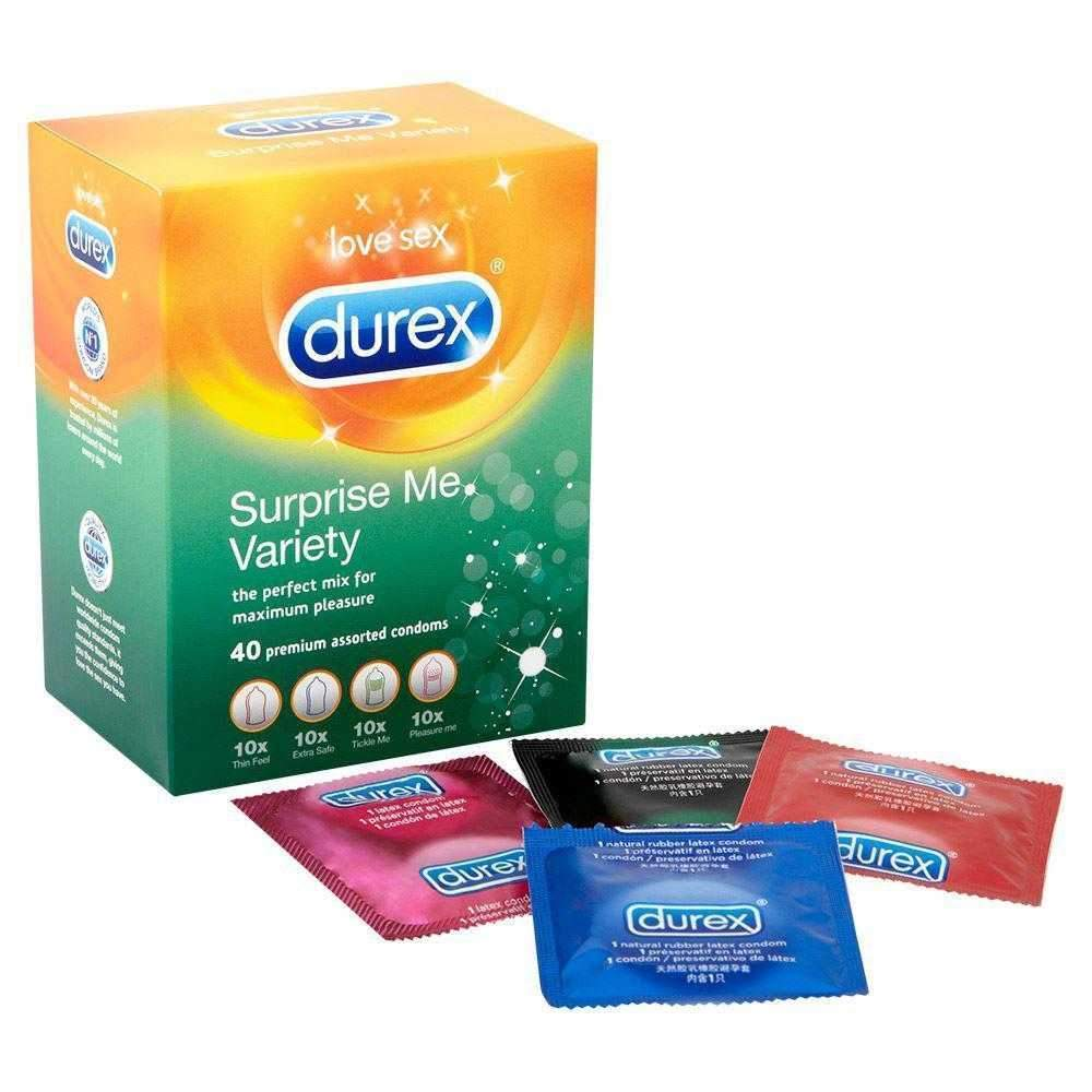 Durex Surprise Me Variety Safe & Strong Condoms Pack of 40