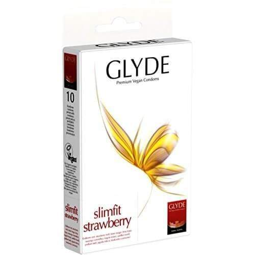 Glyde Ultra Slimfit Strawberry Flavour Vegan Condoms Pack of 10
