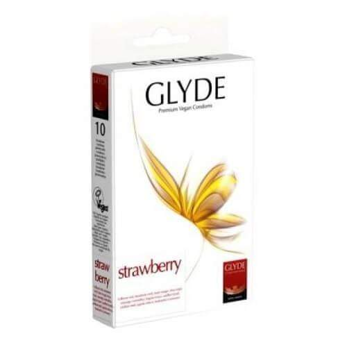 Glyde Ultra Strawberry Flavour Vegan Condoms Pack of 10 Red