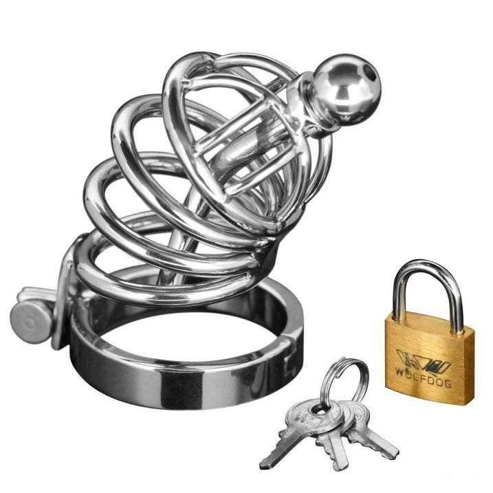 Master Series  Asylum 4 Ring Locking Chastity Cage  Silver  4""
