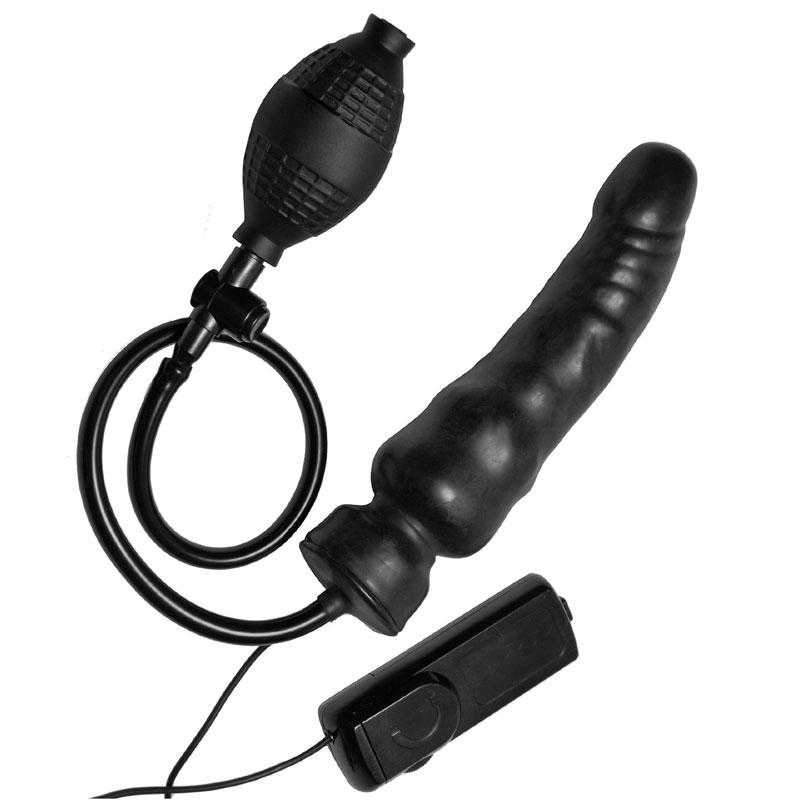 Master Series  Ravage Vibrating Inflatable Dildo  Black  6.25""