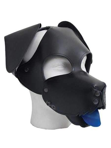 Mister B Floppy Dog Hood in Black with Red and Blue Tongues