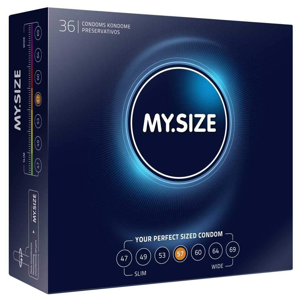 My Size 57 Condoms - Natural Latex Condoms 36 Pack