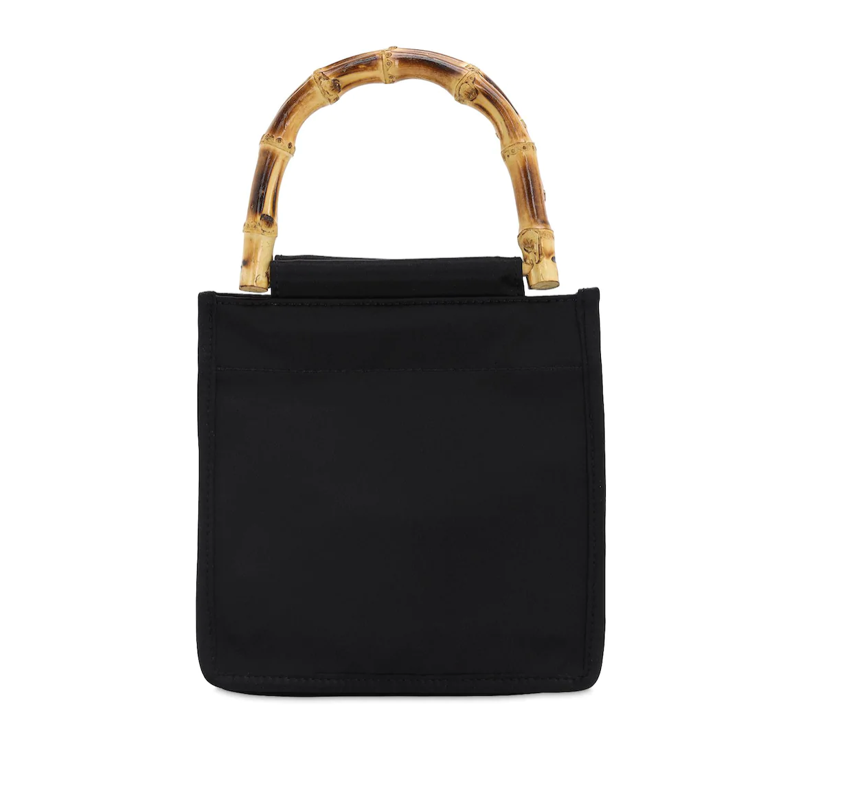 Satin Bamboo Handle Bag Black