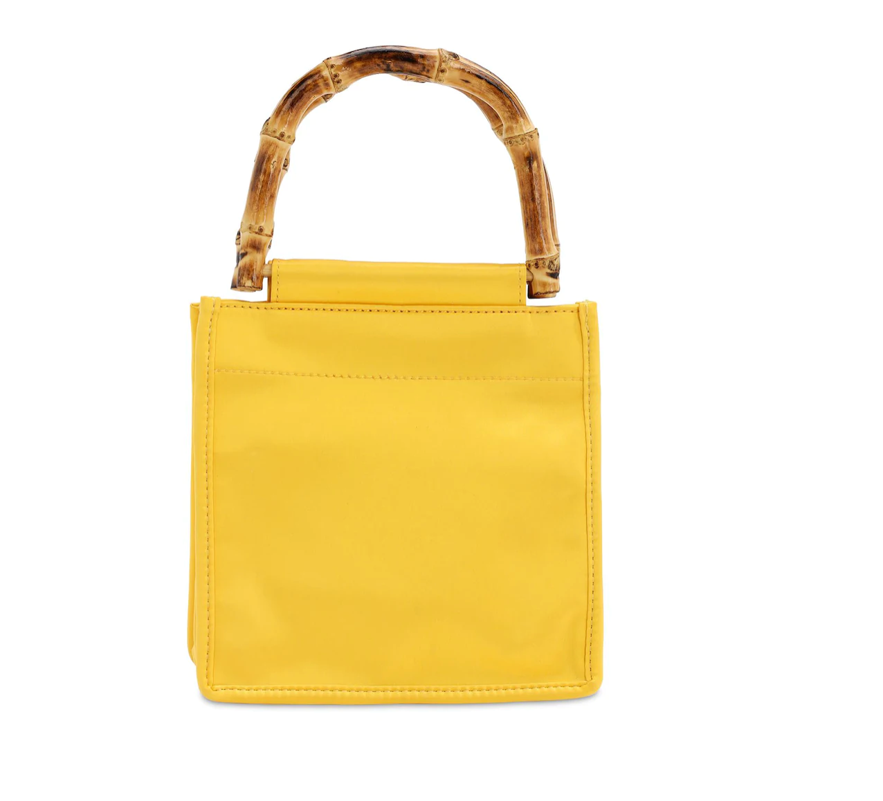 Satin Bamboo Handle Bag Yellow