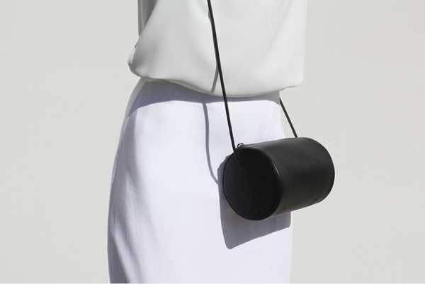 Cylinder Sling Leather Bag-Black - Ms.Little's Bag   - 7