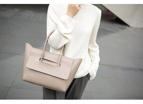 Taupe Leather Tote - Ms.Little's Bag   - 4