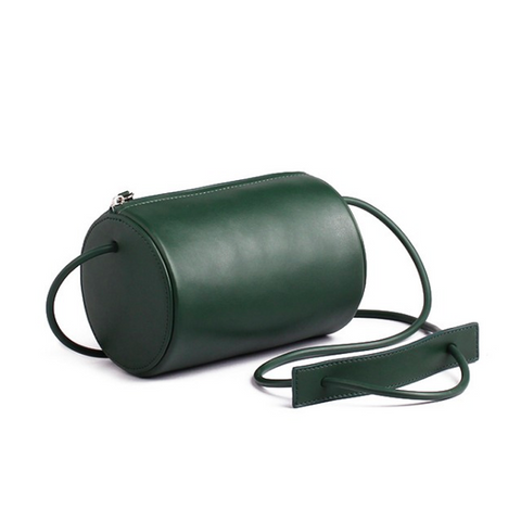 Cylinder Sling Leather Bag-Green