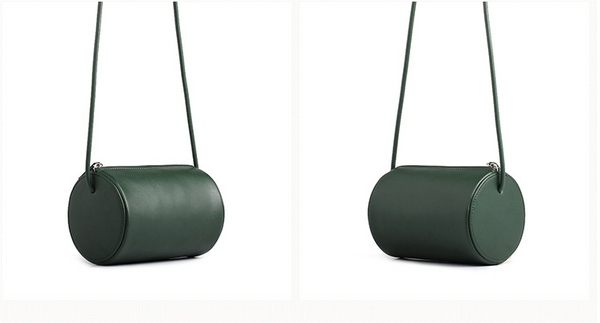 Cylinder Sling Leather Bag-Green - Ms.Little's Bag   - 3