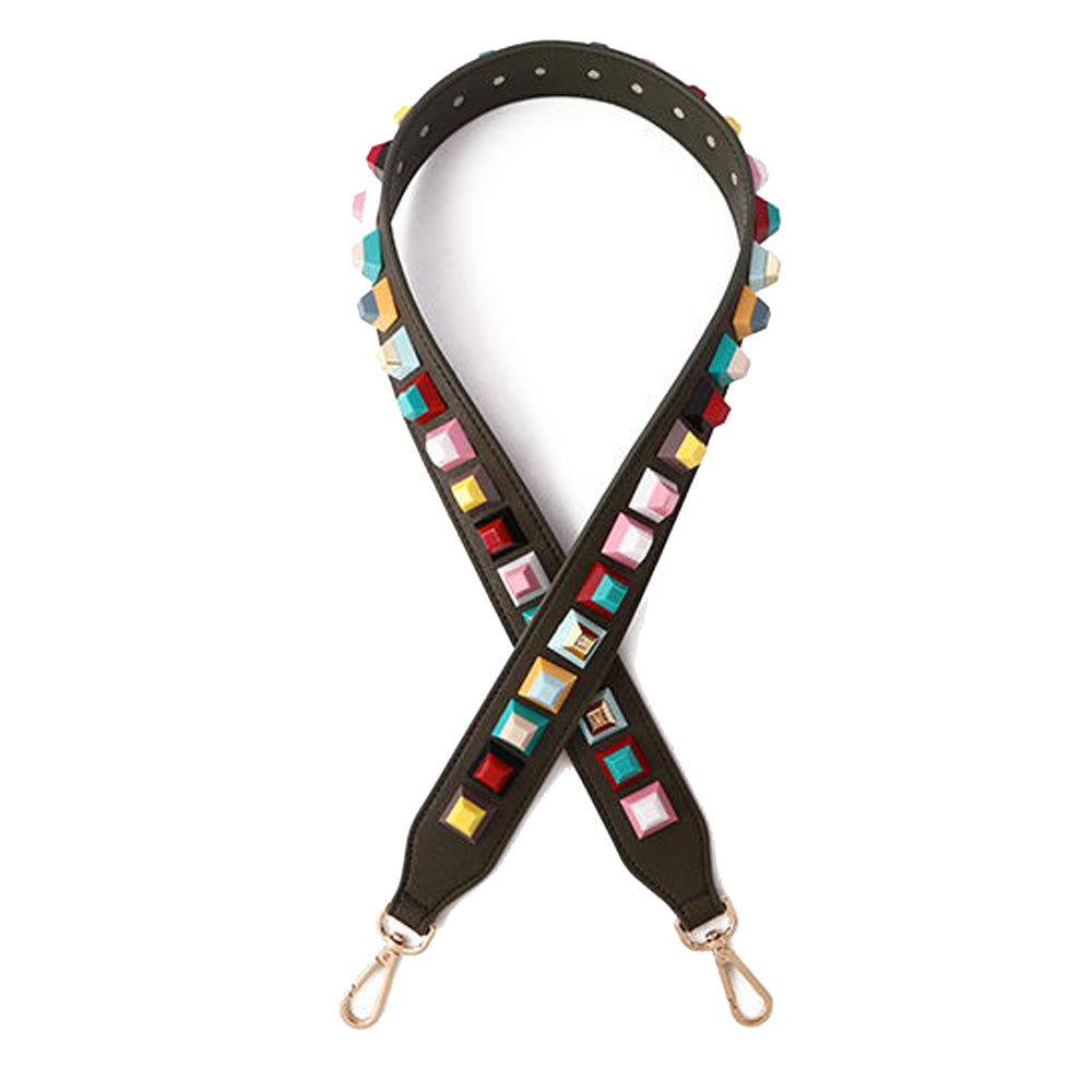 Rainbow Studded Shoulder Strap, Dark Green/Multi