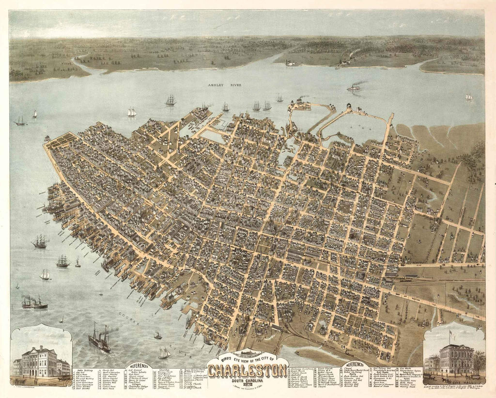 Birdseye View of Charleston, 1872
