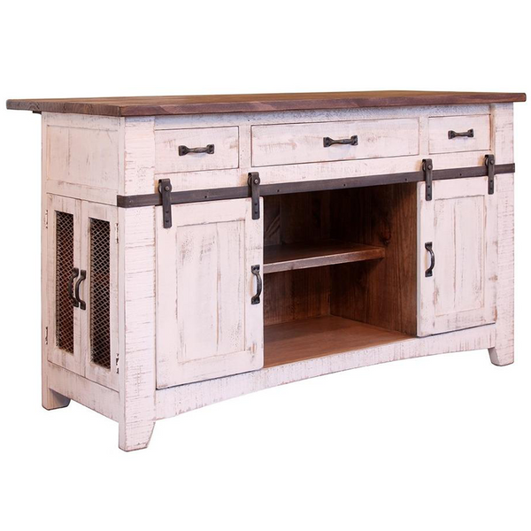 Crafters and Weavers Greenview Kitchen Island Distressed White Farmhouse Style Sliding Doors