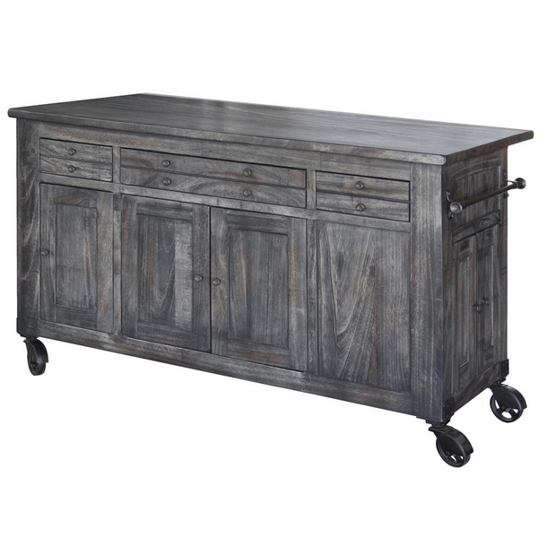 Crafters and Weavers Contemporary Solid Wood Freestanding Kitchen Island Warm Grey Stain