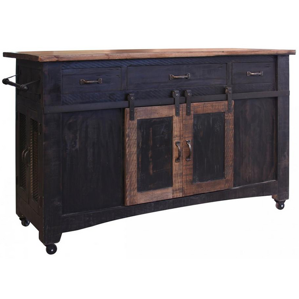 Crafters and Weavers Greenview Kitchen Island Distressed Black Farmhouse Style Sliding Doors