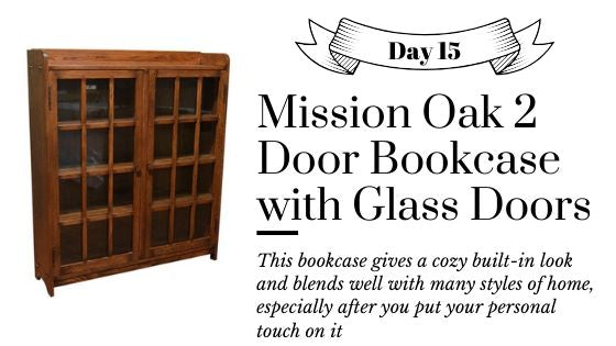 Mission / Arts and Crafts Style Oak Bookcase with 2 Doors in Dark Brown Stain