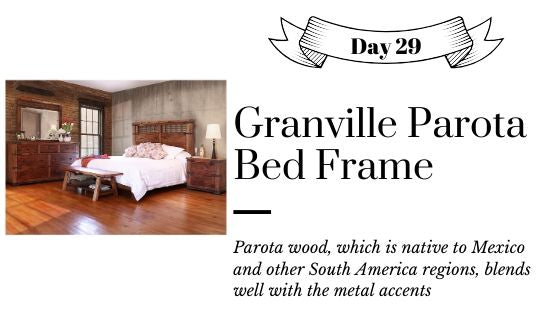 Rustic Parota Wood Bedroom Set include Bed, Nightstand, and Dresser with Mirror