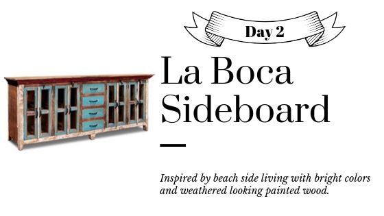 Reclaimed Wood Blue Painted Sideboard La Boca from Crafters and Weavers
