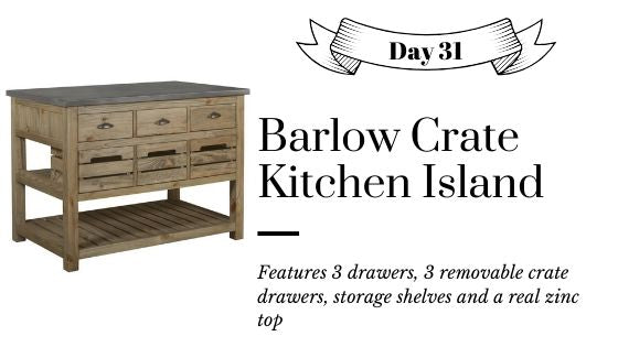 Farmhouse Rustic Distressed Reclaimed Wood Kitchen Island with Crates and Zinc Prep Table