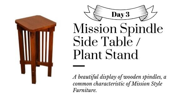 Mission Solid Oak Spindle Side End Table or Plant Stand