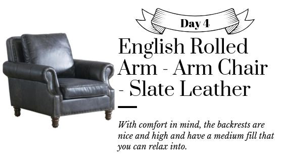 Leather English Rolled Arm Wing Chair Available Gray and Brown