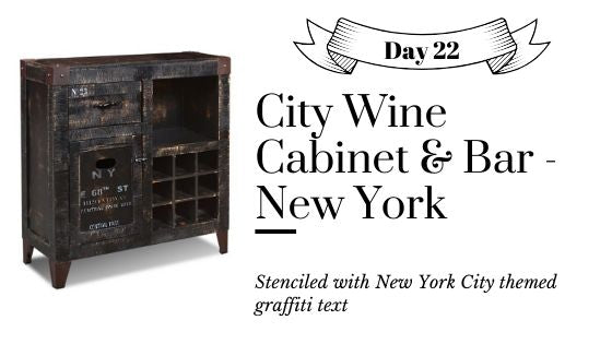 Industrial Style Black Painted Distressed Wine Cabinet and Bar with New York City Graffiti Text