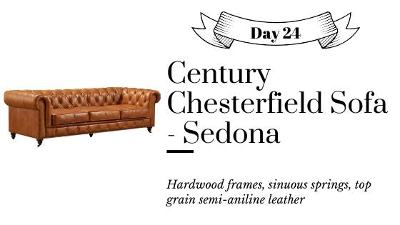 Brown Top Grain Leather Chesterfield Sofa with Free US Shipping