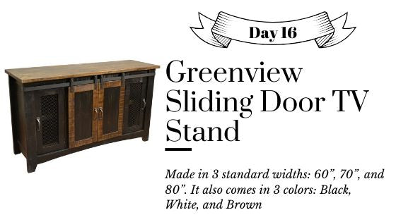 Crafters and Weavers Farmhouse Sliding Door TV Stand Solid Wood - Distressed White, Black, and Brown