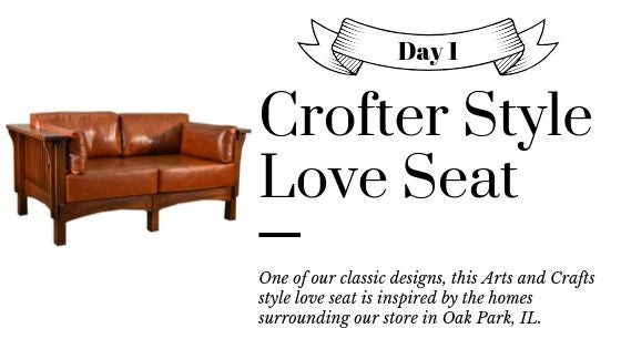 Crofter Style Love Seat Solid Oak and Leather Sofa - Crafters and Weavers