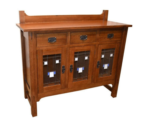 SOLID OAK ARTS AND CRAFTS STAINED GLASS BUFFET