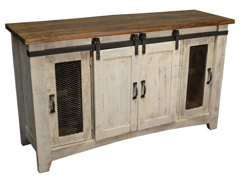 white sliding door tv stand. solid wood furniture with rustic and refined industrial details and finishes