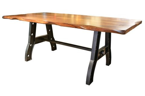 Solid Wood Rustic Dining Table Parota Wood with Live Edge and Cast Iron Industrial Base