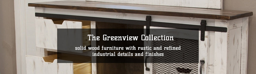 Greenview Collection Farmhouse Style Furniture with Industrial Hardware by Crafters and Weavers