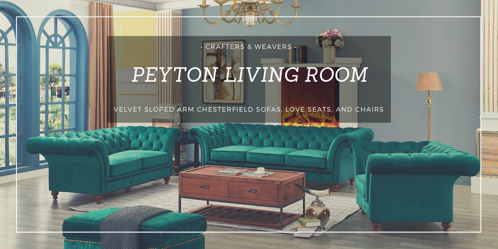 Peyton Velvet Sloped Arm Living Room Chesterfield Sofas, Love Seats, and Chairs