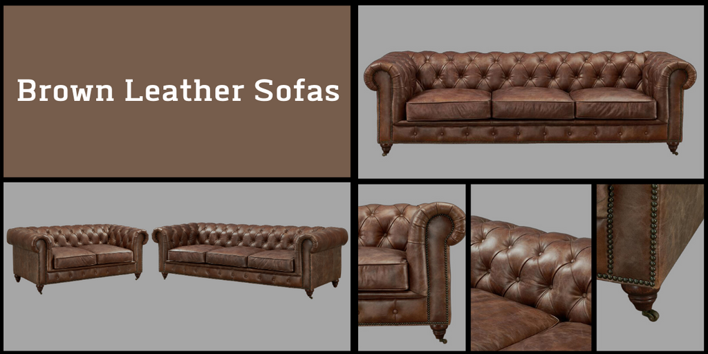 Brown Leather Sofas from Crafters and Weavers