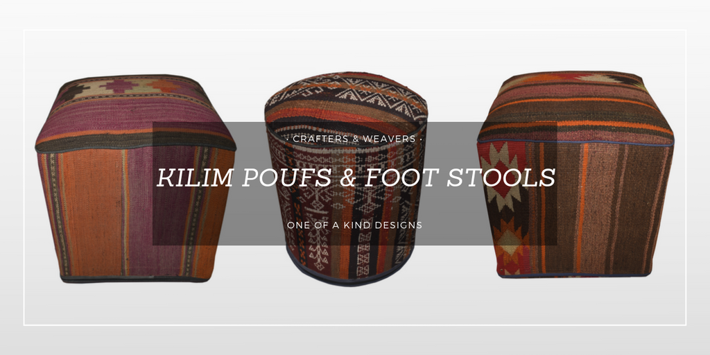 Kilim Poufs and Foot Stools from Crafters and Weavers