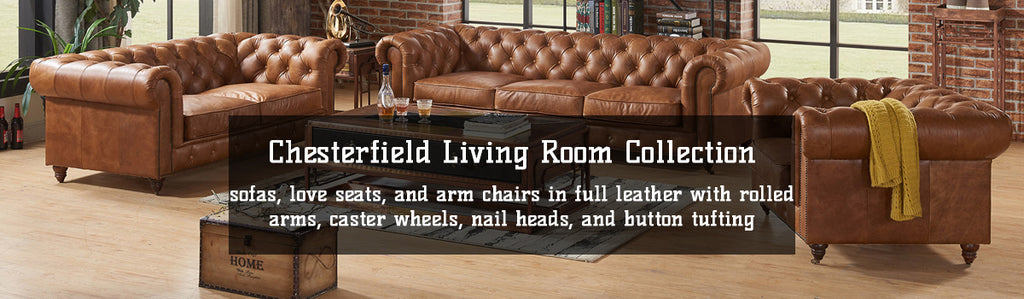 Leather Chesterfield Sofas, Love Seats, and Arm Chairs for Sale