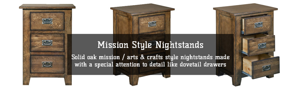 Solid Oak Mission / Arts & Crafts style nightstands with dovetail drawers and metal hardware